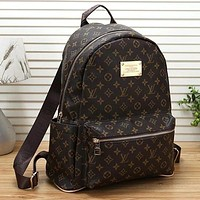Louis Vuitton LV Women Casual School Bag Cowhide Leather Backpack Daypack Bag