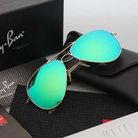 Ray Ban Aviator Sunglasses Gold Frame Green Flash Lens RB 3025