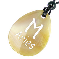 A Natural Agate Aries Lucky Astrological Rune Pendant Necklace