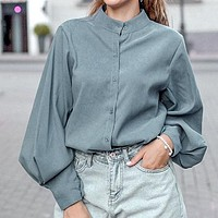 High Fashion Lantern Sleeve Women Blouse Shirt Ol Solid Blouse Shirts Plus Size Blusas Mujer