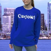 Coexist Blue Long Sleeve Shirt Small Import to USA Promotes Religious Tolerance