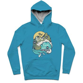 The Lord Is My Rock Trendy All-Over Print Solid Scooter Hoodie