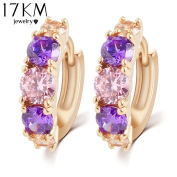 17KM Hot Sell Fashion Charm Personality Alloy Gold Color Purple Crystal Earring Jewelry Round Zirconia Design Earrings For Women