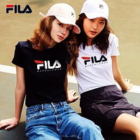"""FILA"" Unisex All-match Classic Letter Print Couple Short Sleeve Casual T-shirt Top Tee"