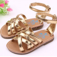 HOT New Arrival Rubber Sole Leather Baby Girl Sandals Ourdoor Toddler Sandals 0-15 Months