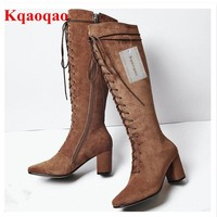 High Heel Women Winter Boots Front Lace Up Cross-tied Shoes Brand Super Star Runway Shoe Long Booties Side Zip Chaussures Femmes