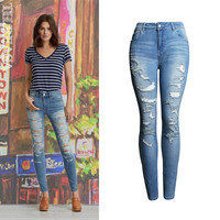 Slim Ripped Holes Pants Jeans [11474122575]