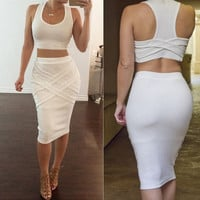 U-Neck Sleeveless and Bandage Skirt