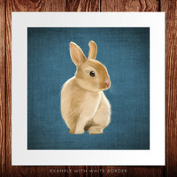 A small rabbit on a rustic blue background (art print 12x12 on giclée archival paper)