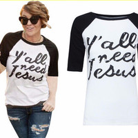 """SIMPLE - """"Y'all need Jesus"""" Printed Short Sleeve T-Shirt a12332"""