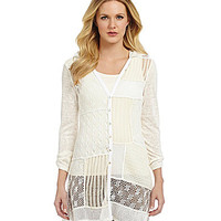 Multiples Mixed Pattern Sweater Knit Hoodie Cardigan - Cream