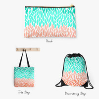 Grab Your Bag Tote Pouch Drawstring Pencil Purse Book Sac Shopping Bag Groceries Coral Mint Teal White Be Green