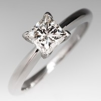 GIA .80 Carat F/SI1 Princess Diamond Solitaire Ring in Platinum