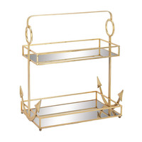 Benzara Classic Metal Mirror 2 Tier Tray