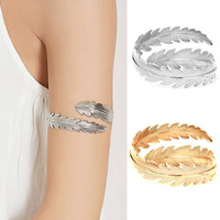 Leaf Arm Cuff Bangle & Bracelet For Women Gold Silver Plated Bangles Big Exaggerated Bracelets Jewelry Accessories