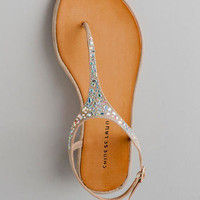 CHINESE LAUNDRY SHOES, GLISTEN T-STRAP SANDAL IN BEIGE