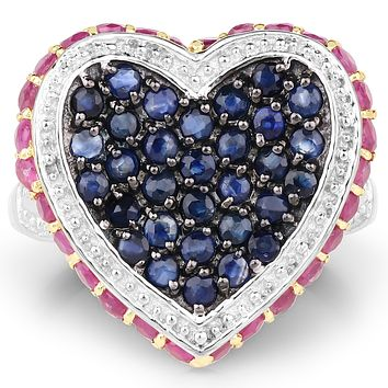 14K Yellow Gold Plated 1.77CT Natural Red Ruby & Blue Sapphire Heart Ring