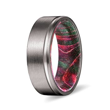 GERO Men's Grooved Tungsten Ring w/ Red & Green Box Elder Wood Sleeve 8mm