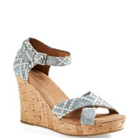 TOMS Embroidered Wedge Sandal