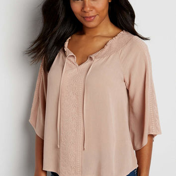 embroidered peasant top with smocked neckline   maurices
