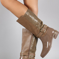 Crocodile Back Zipper Strap Mid Calf Rain Boots
