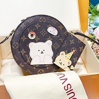 LV Louis Vuitton Popular Women Shopping Bag Leather Cute Circular Crossbody Satchel Shoulder Bag