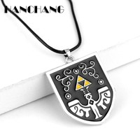 The Legend of Zelda Triforce Necklace Shield Shaped Pendant Charms Necklaces Leather Rope Chain Neck lace Colar collier
