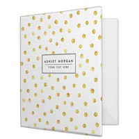 Elegant Gold Foil Confetti Dots 3 Ring Binder