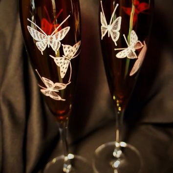 Flutes Pair Hand Engraved with Butterflies