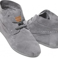 TOMS Shoes Grey Suede Tribal Boots Women's Lace-up Shoes,