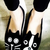 Cute Dog And Cat Suede Flats