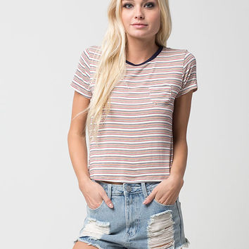 FULL TILT 70's Striped Womens Ringer Tee | Knit Tops & Tees