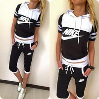 Nike Fashion Multicolor Sport Gym Pants Coat Set Two-Piece Sportswear F