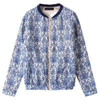 Retro Floral Printed Jacket with Zip Closure