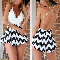 Fashion Sexy Halter Cross Stitching Lace Playsuits short Rompers = 5617074945