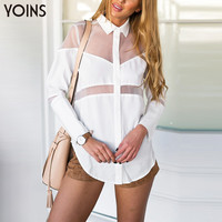 YOINS 2016 New Women Long Sleeve Lapel Collar Asymmetrical Button Shirt Blouse Summer See-through Fashion Sexy Blusas Femininas