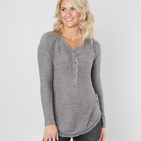 Daytrip Reverse French Terry Henley Top - Women's Shirts/Blouses in Grey Cloud Black | Buckle