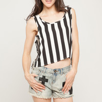 Chain Striped Crop Tank