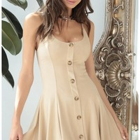 Party dresses > Esme Suede Dress In Sand