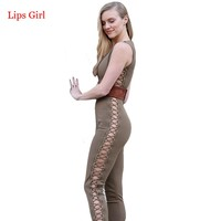 Women Sexy Club Jumpsuit Long Pants 2016 Summer Bodysuit Rompers Rivet Hollow Out Criss Cross Bodycon Playsuits And Jumpsuits
