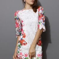 White Whole Crochet Floral Shift Dress White
