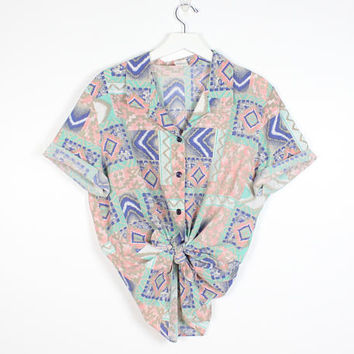 Vintage 1980s Shirt Peach Blue Mint Green Southwestern Print Boyfriend Shirt Soft grunge Button Down Camp Shirt 80s Collared Top M Medium L