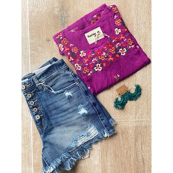 Kelly Magenta Floral Embroidered Top