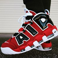 Nike Air More Uptempo 96 Bulls Varsity Red White Black Cushioning Sneakers Shoes