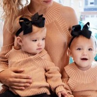Fall And Winter Family Matching Off Shoulder Sweater