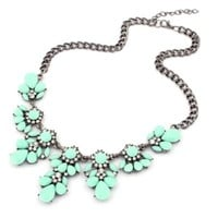 SUNNOW Vintage Resin Flower Bubble Bib Statement Pendant Necklace Choker Collar Jewellery