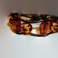 Amber Color Beads Single Wrap Leather Cuff Bracelet Vintage Glass Bead plus Acrylic Beads Unique Handmade Gift Idea Boho Country