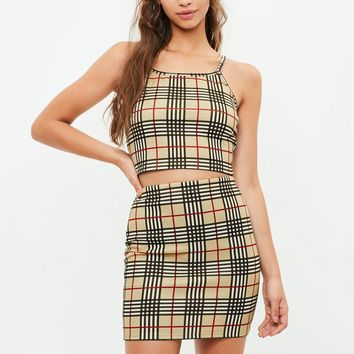 Missguided - Yellow Scuba Mini Skirt and Bralet Set