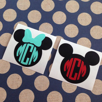 Minnie Monogram | Mickey Monogram | Disney Inspired Monograms | Disney Vinyl Decals | Disney Vacation Decal | First Disney Trip Decals