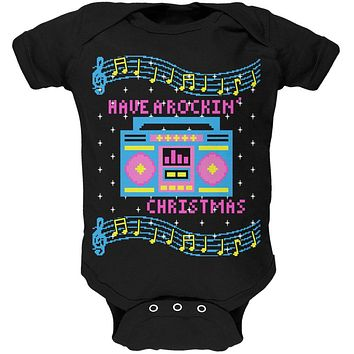 Retro Boombox Music Have a Rockin' Ugly Christmas Sweater Soft Baby One Piece